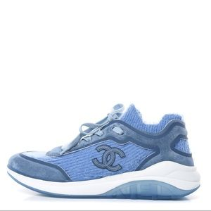Chanel Suede Calfskin Stretch Fabric CC Sneakers
